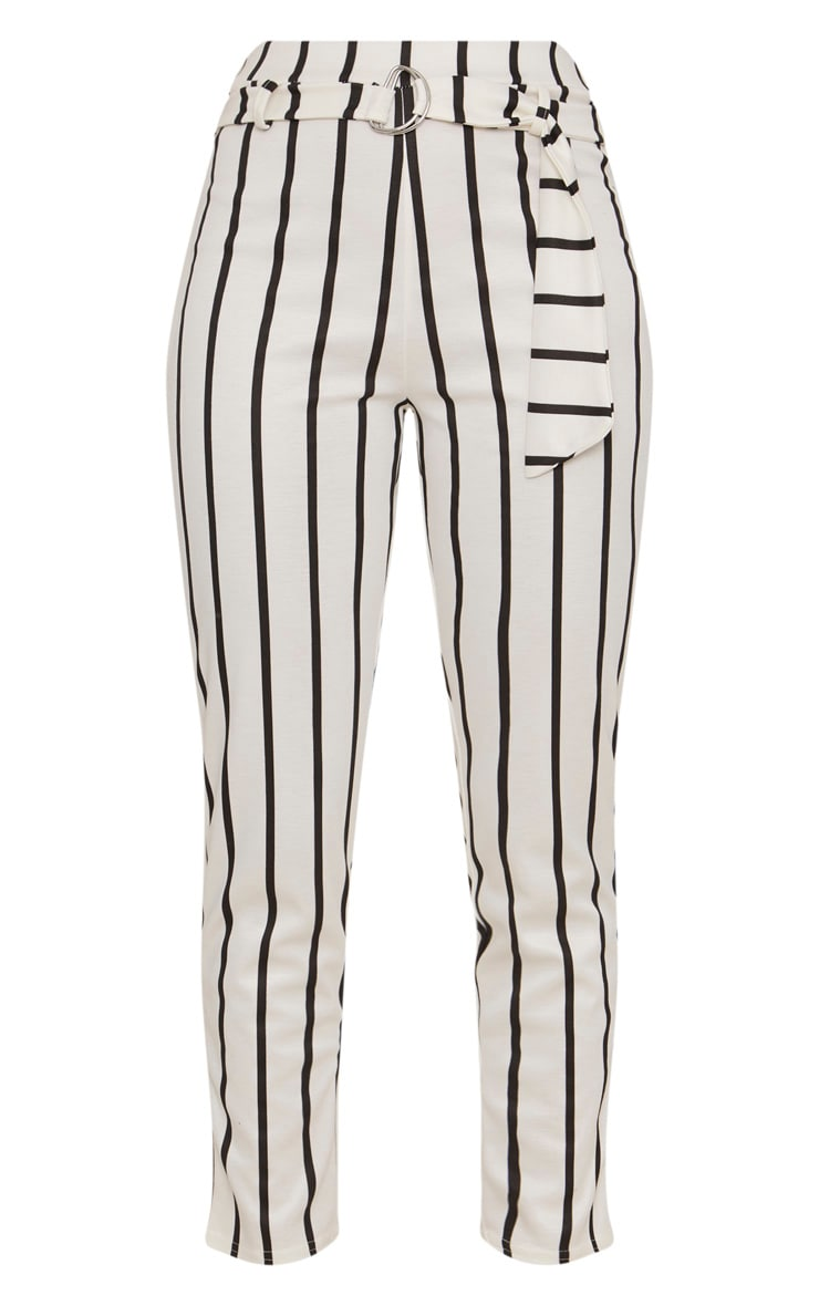White Monochrome Stripe Belted Cigarette Pants 3