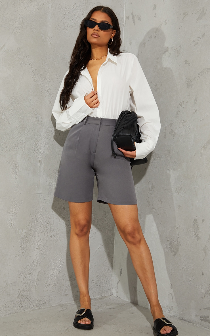 Charcoal Grey Woven Tailored Longline City Shorts 4