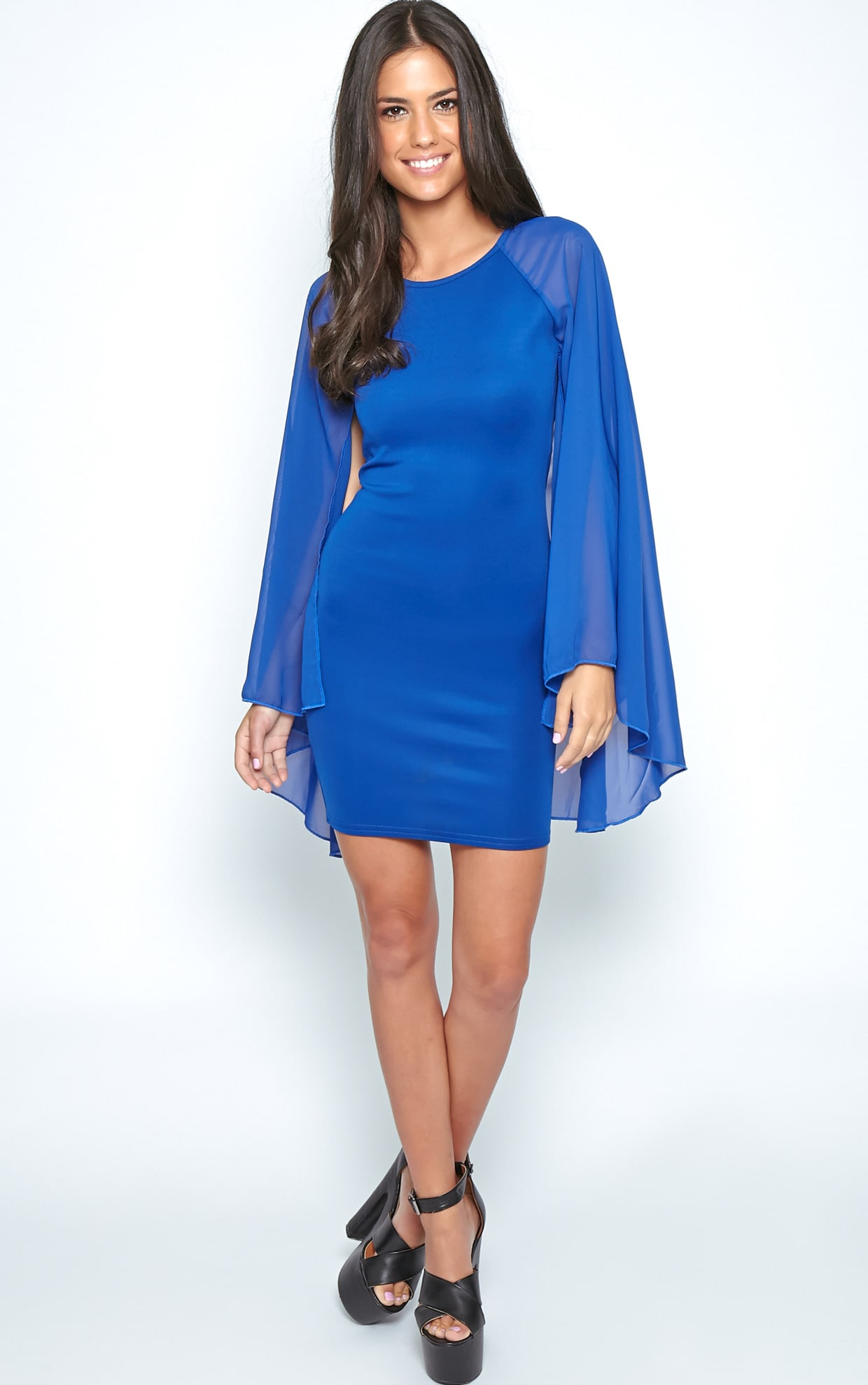 Kayte Cobalt Bodycon Dress With Chiffon Batwing Sleeves 3