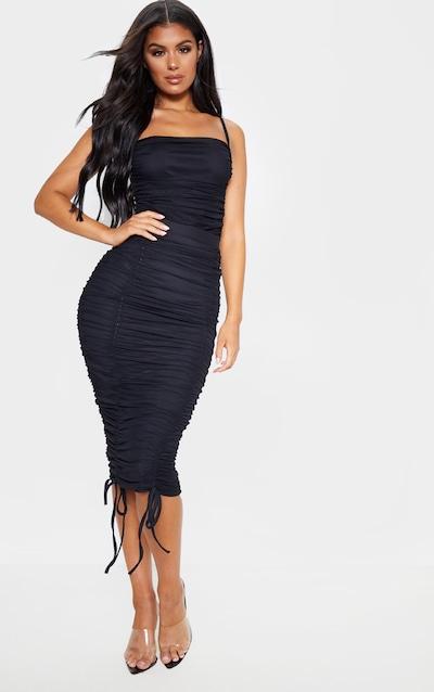 Black Mesh Ruched Detail Midi Skirt