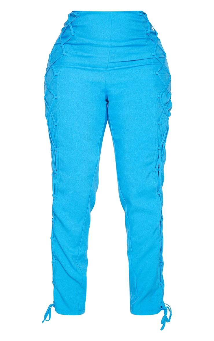 Shape Bright Blue Lace Up Detail Skinny Trousers 5