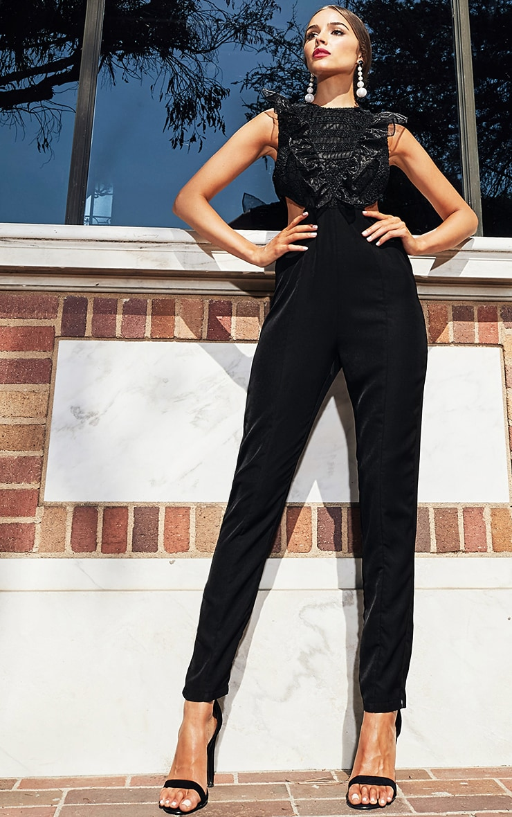 Black Mesh Shoulder Cut Out Detail Jumpsuit 2