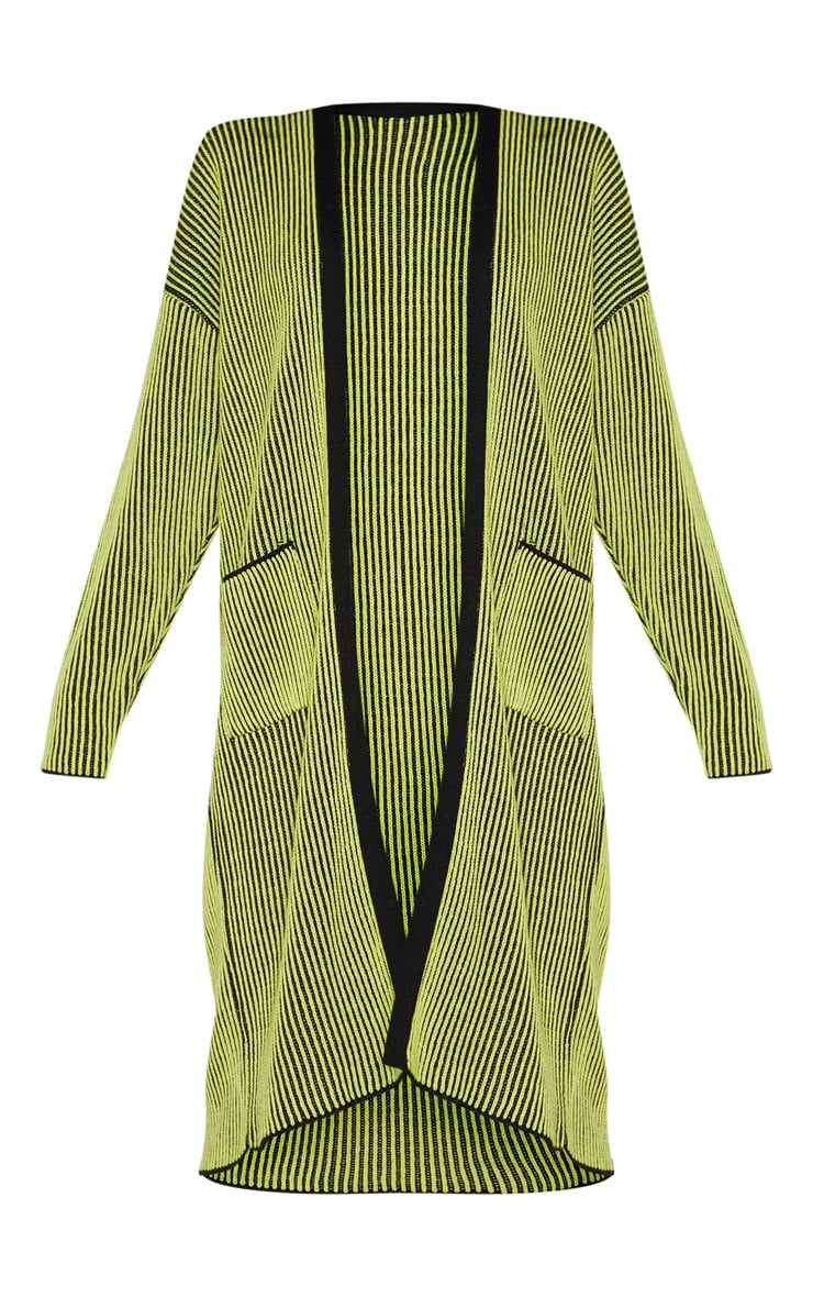 Lime Two Tone Knitted Cardigan  3