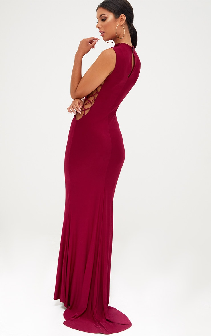 Burgundy Lace Up Side Maxi Dress 2