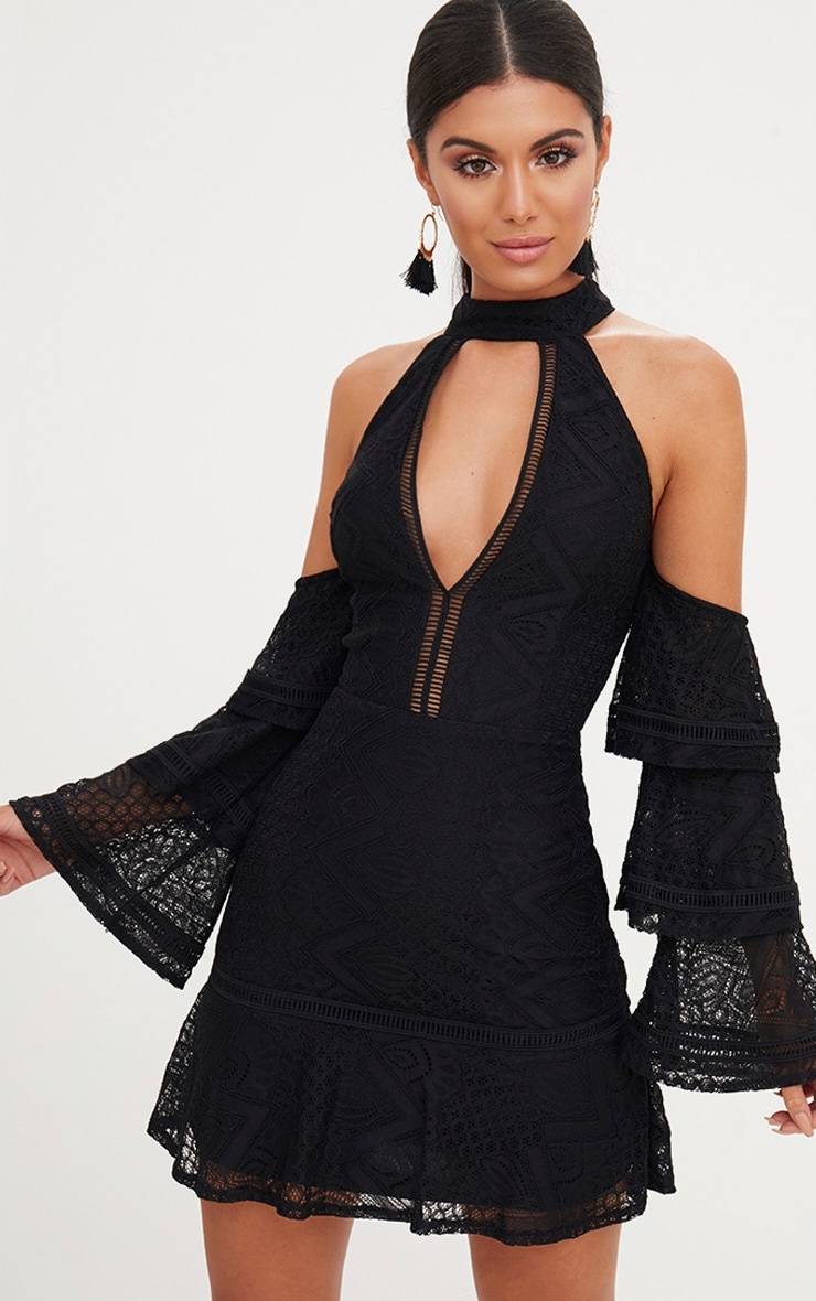 Black Lace Cold Shoulder Frill Sleeve Shift Dress 1