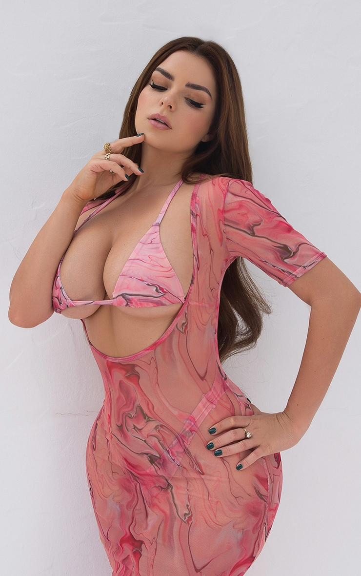 Pink Acid Upside Down Triangle Bikini Top