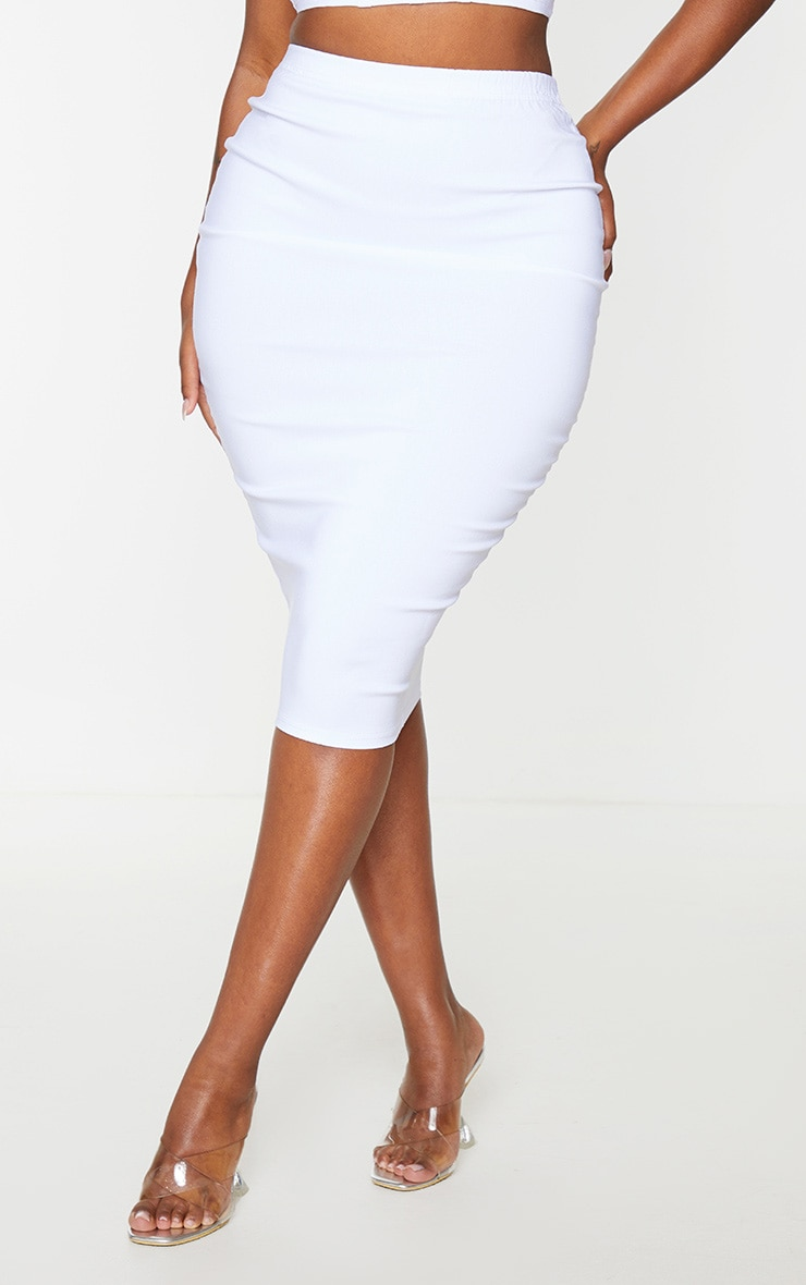 Shape Cream Stretch High Waist Midi Skirt 2