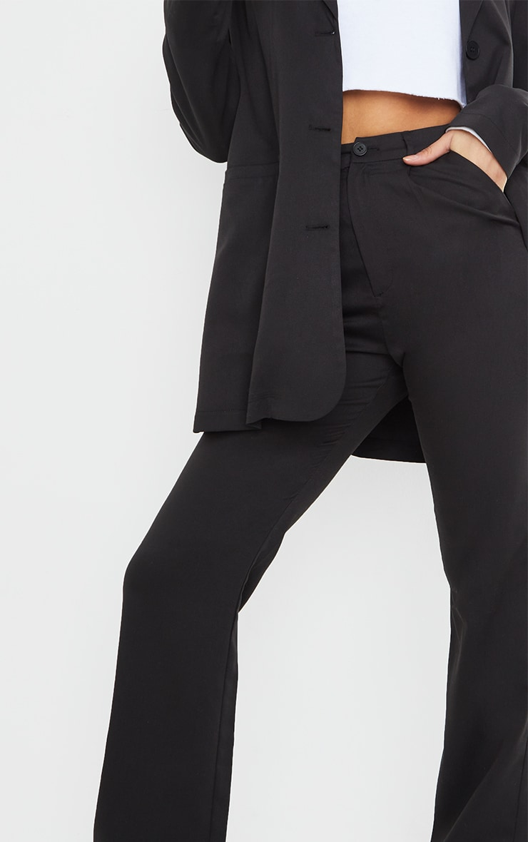 Black Woven Seam Front Dad Pants 4
