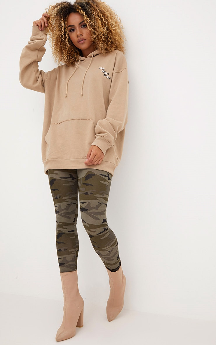 Taupe How About Never Slogan Oversized Hoodie  4