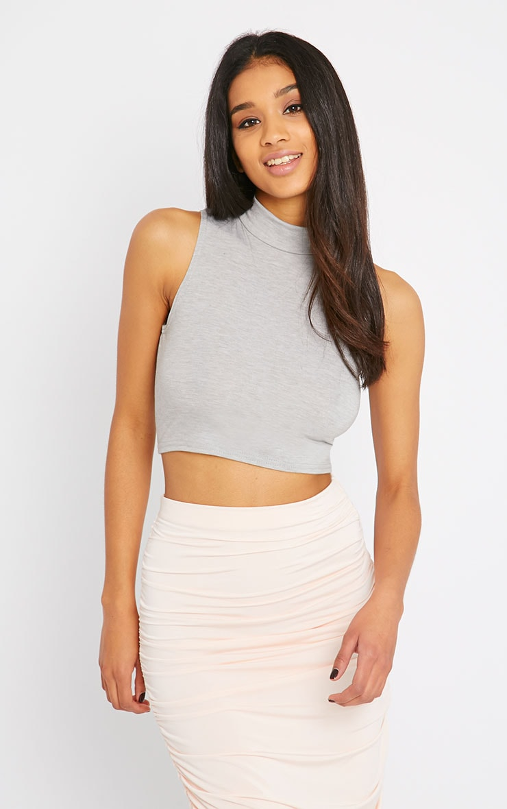 Basic Grey Jersey High Neck Crop Top 1