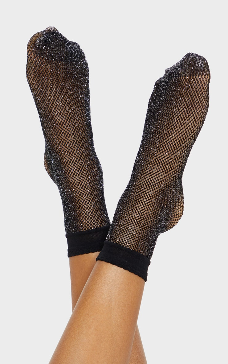 Black Textured Glitter Fishnet Ankle Socks 1