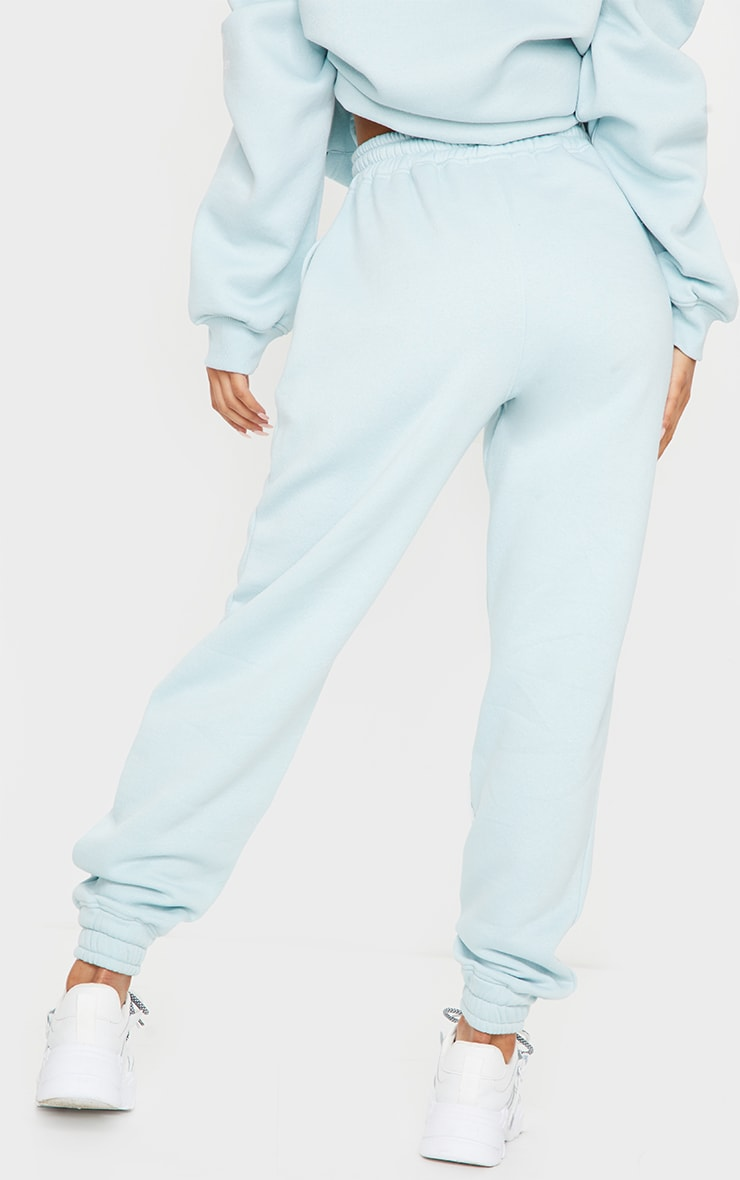 PRETTYLITTLETHING Light Blue Haze Slogan Print Jogger 3