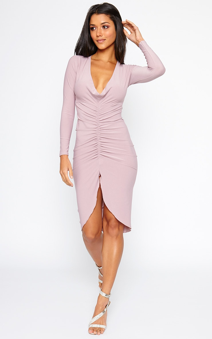 Zoey Mauve Ruched Midi Dress 3