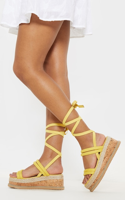 4c8cd8e2438ae5 Yellow Tube Strappy Espadrille Flatform