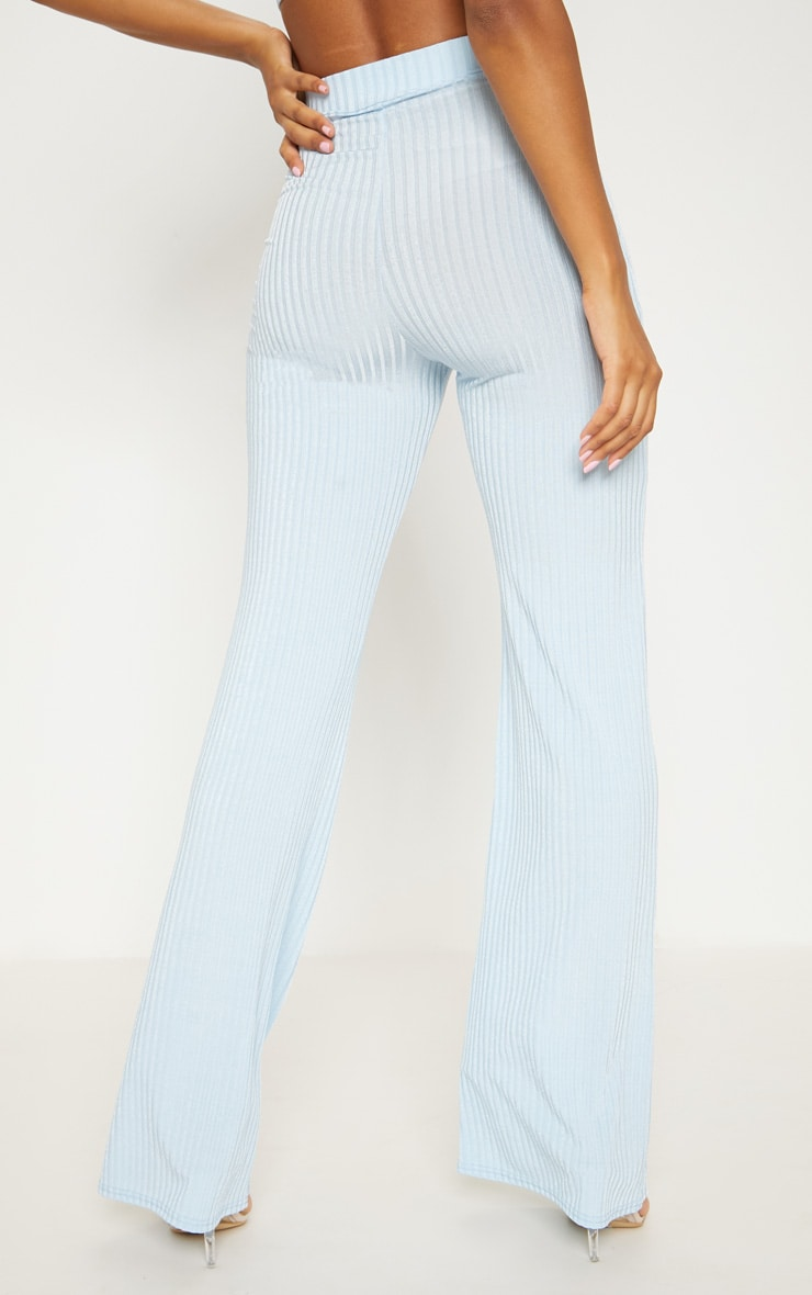 Pale Blue Rib Wide Leg Trousers 4