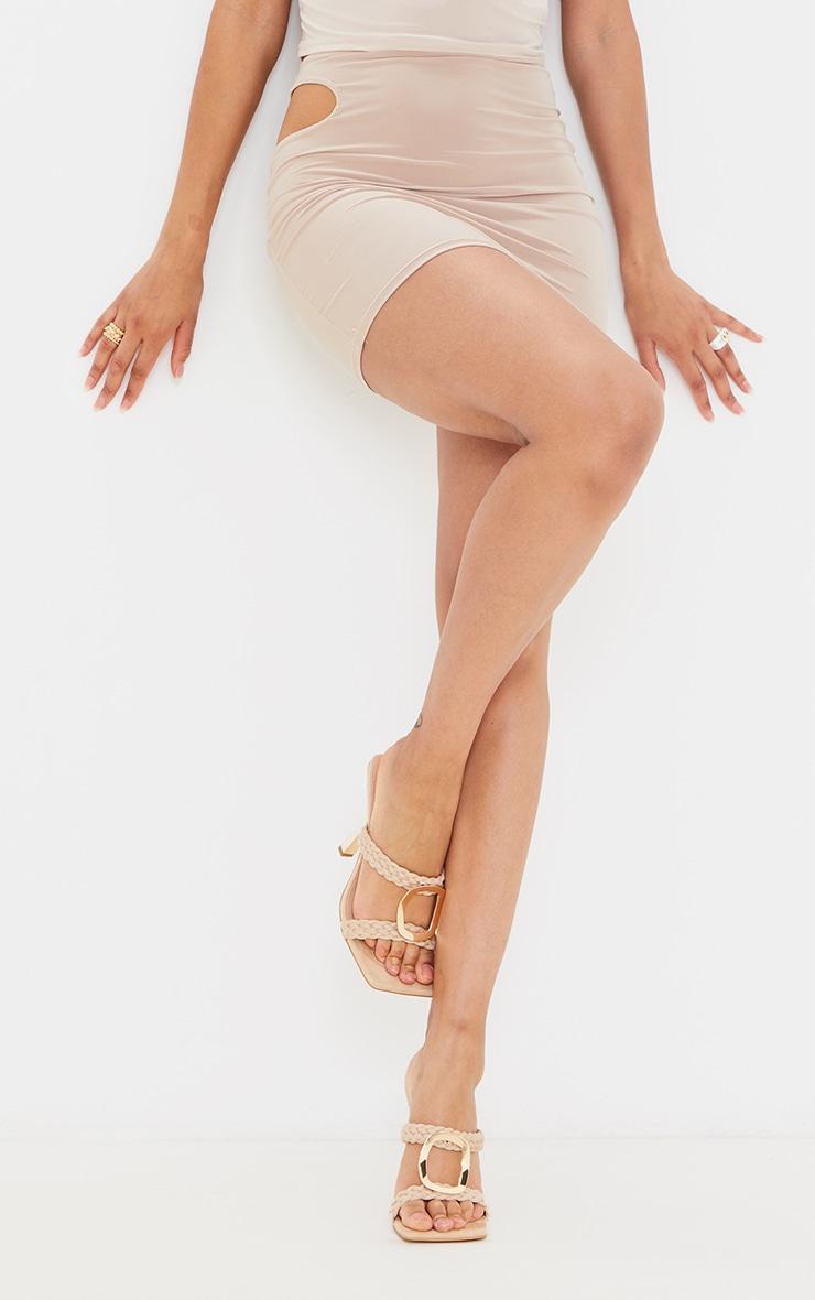 Cream Woven Strap Heeled Mules 1