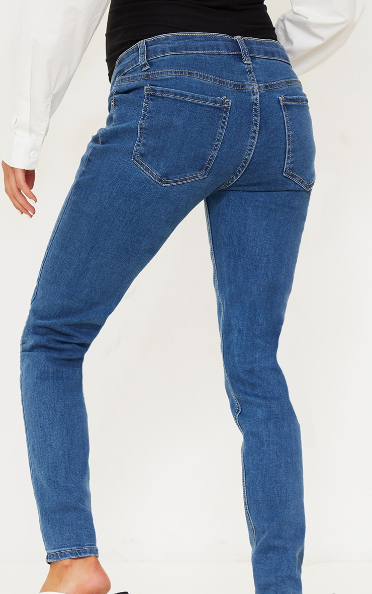 Maternity Mid Wash Skinny Jeans 3