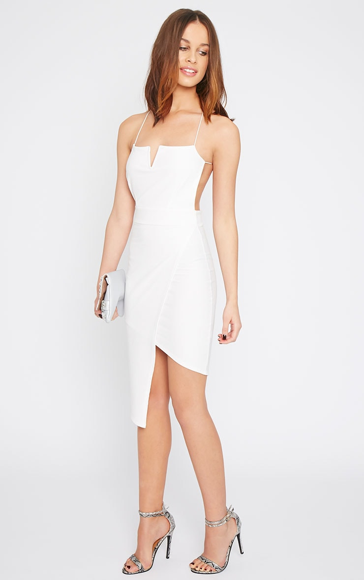 Raye White Cross Back Asymmetric Dress  4