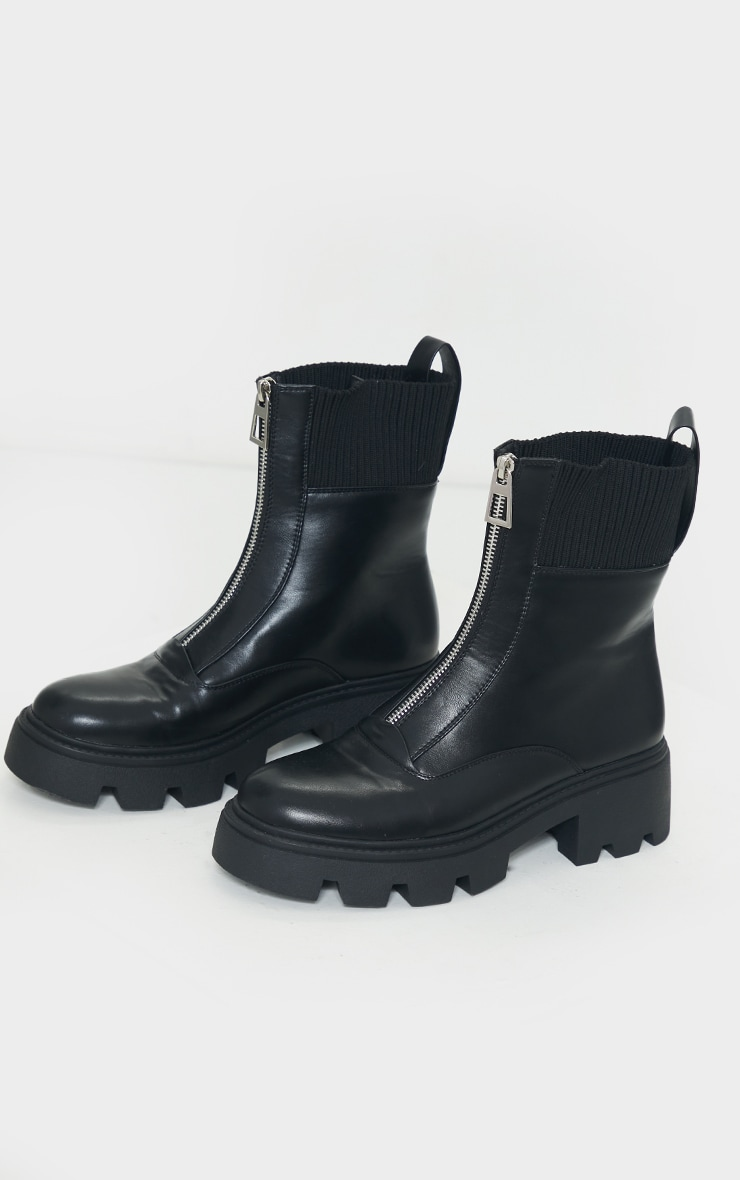 Black Zip Front Faux Leather Knit Collar Biker Boots 3
