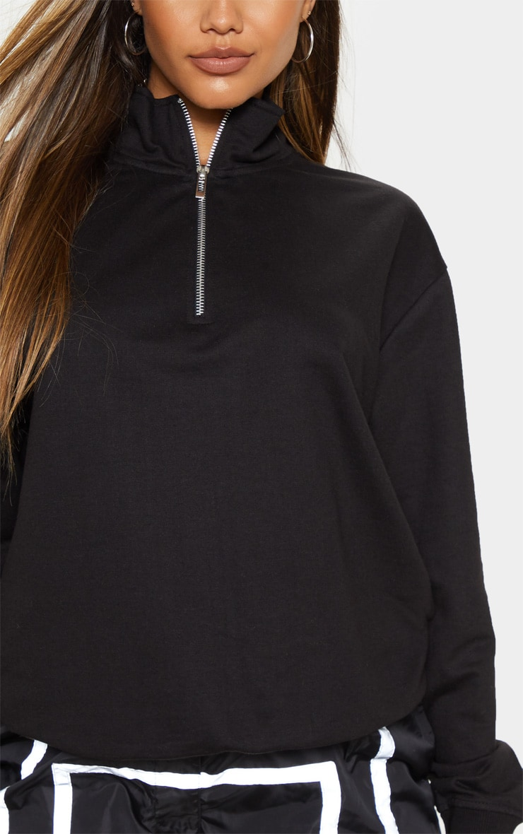 Black Zip Front Oversized Sweater 5