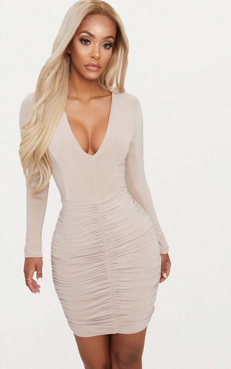 Shape Stone Slinky Ruched Mini Dress  1