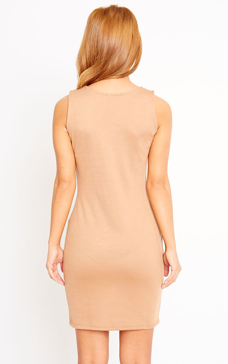Ahana Camel V-Front Hem Mini Dress 2