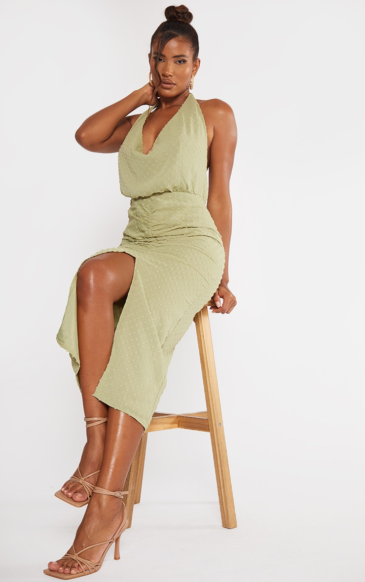 Sage Green Dobby Chiffon Halterneck Cowl Ruched Midi Dress 3