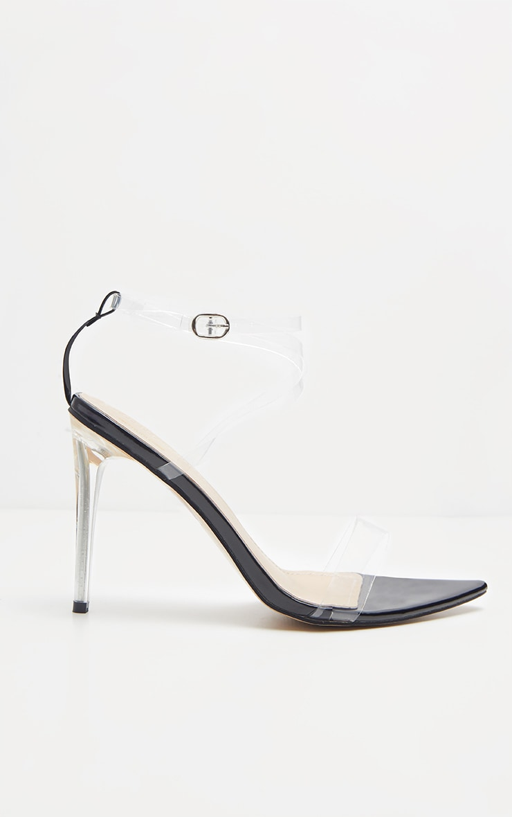 Black Point Toe Clear Strappy Sandal  4