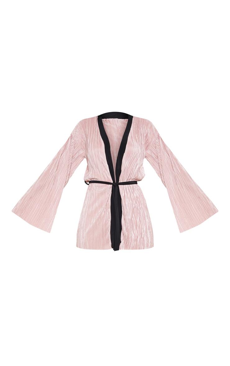 Rose Plisse Long Sleeve Robe 3