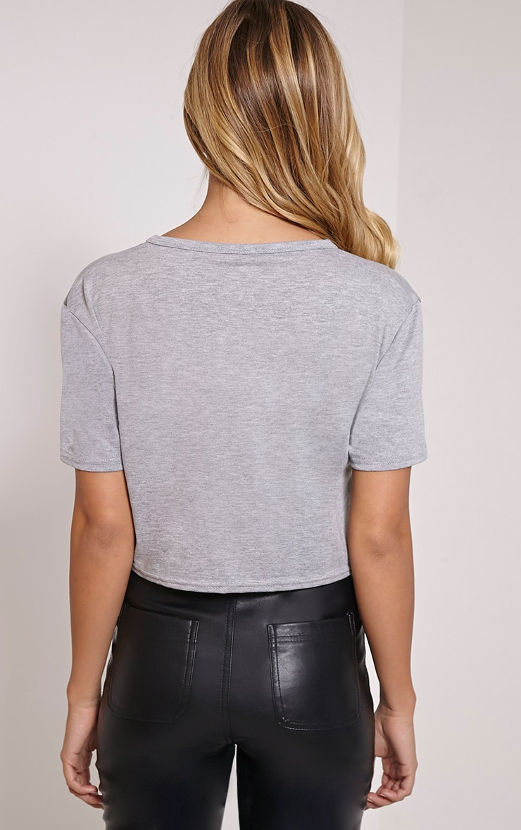 'Clothes Before Bros' Grey Cropped T-Shirt 2