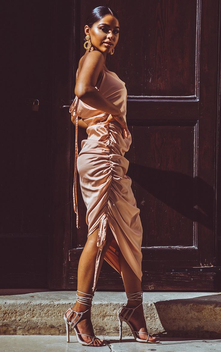 Peach Satin Ruched Seam Midi Dress 4