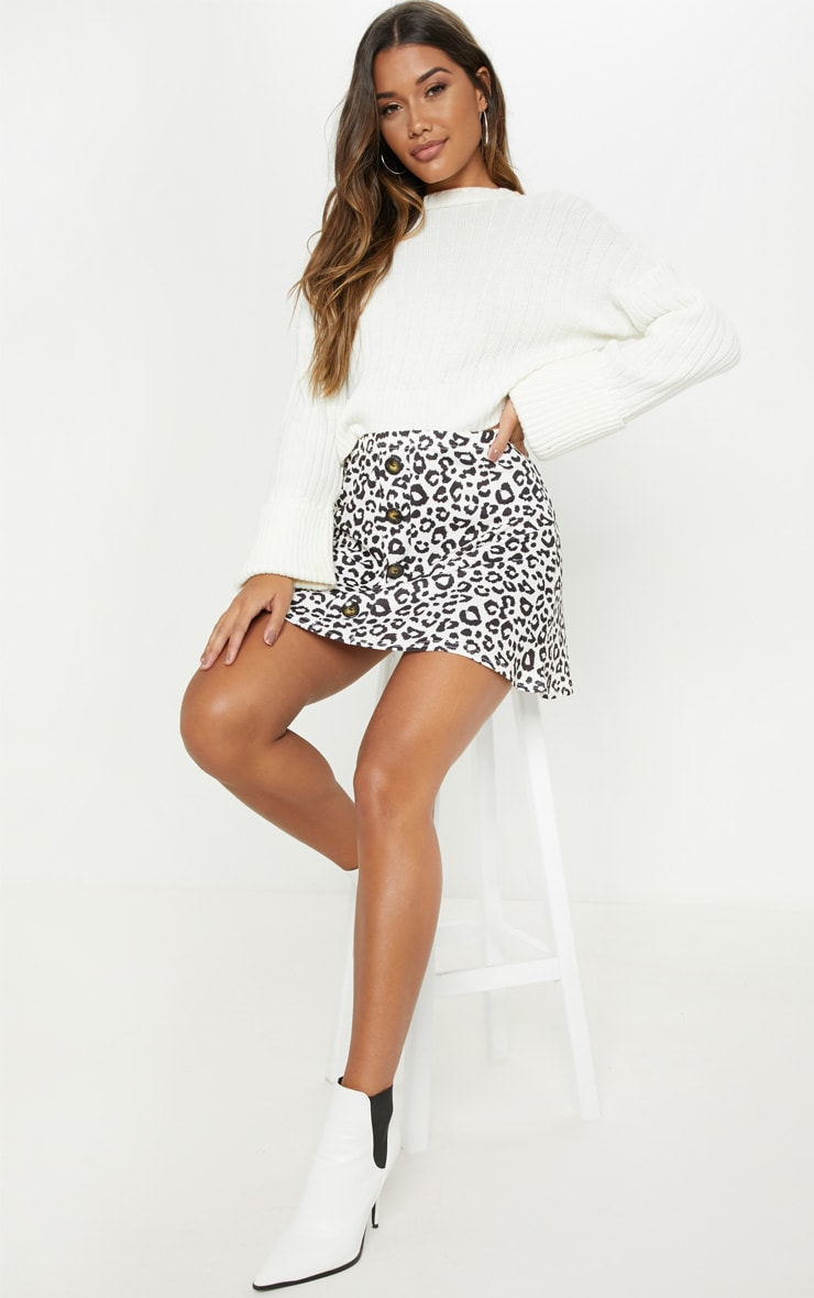 Leopard Print Printed Button Front A Line Skirt 5