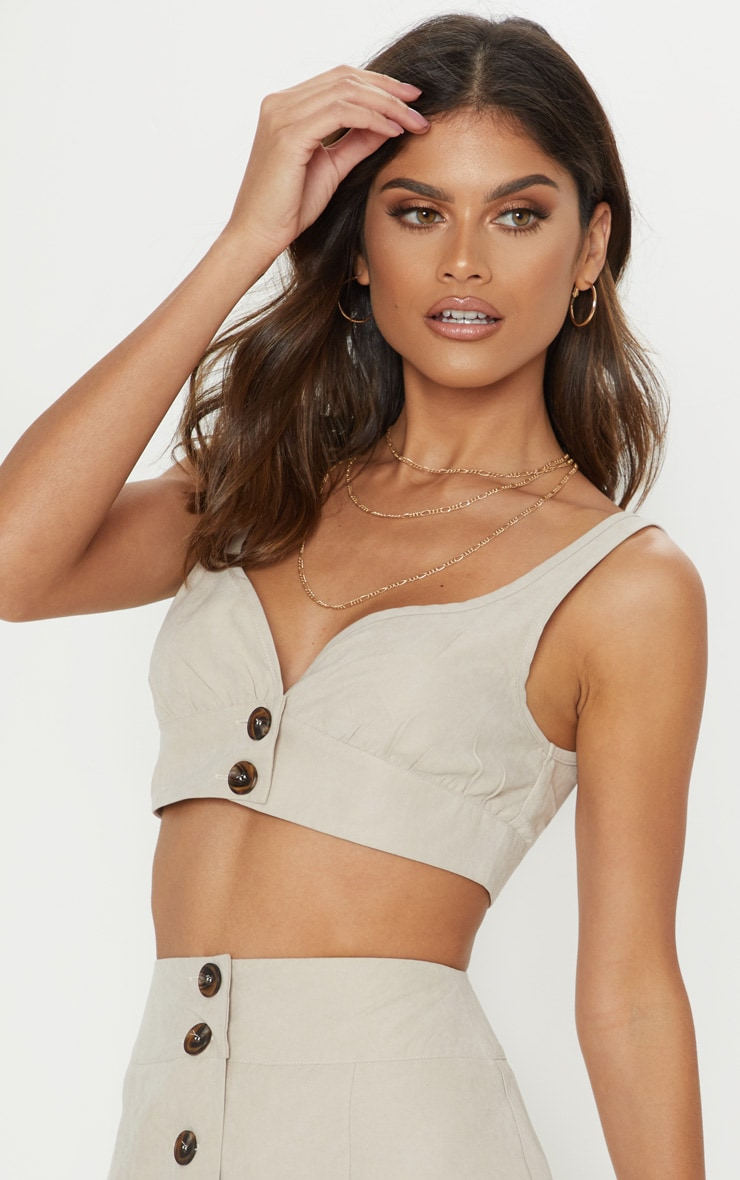 Stone Faux Suede Button Detail Bralet 1