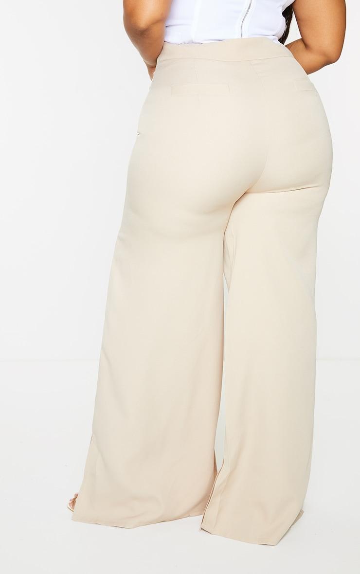 Plus Stone Satin Wide Leg Split Hem Pants 3