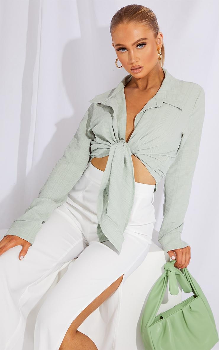 Sage Green Textured Tie Front Shirt 4