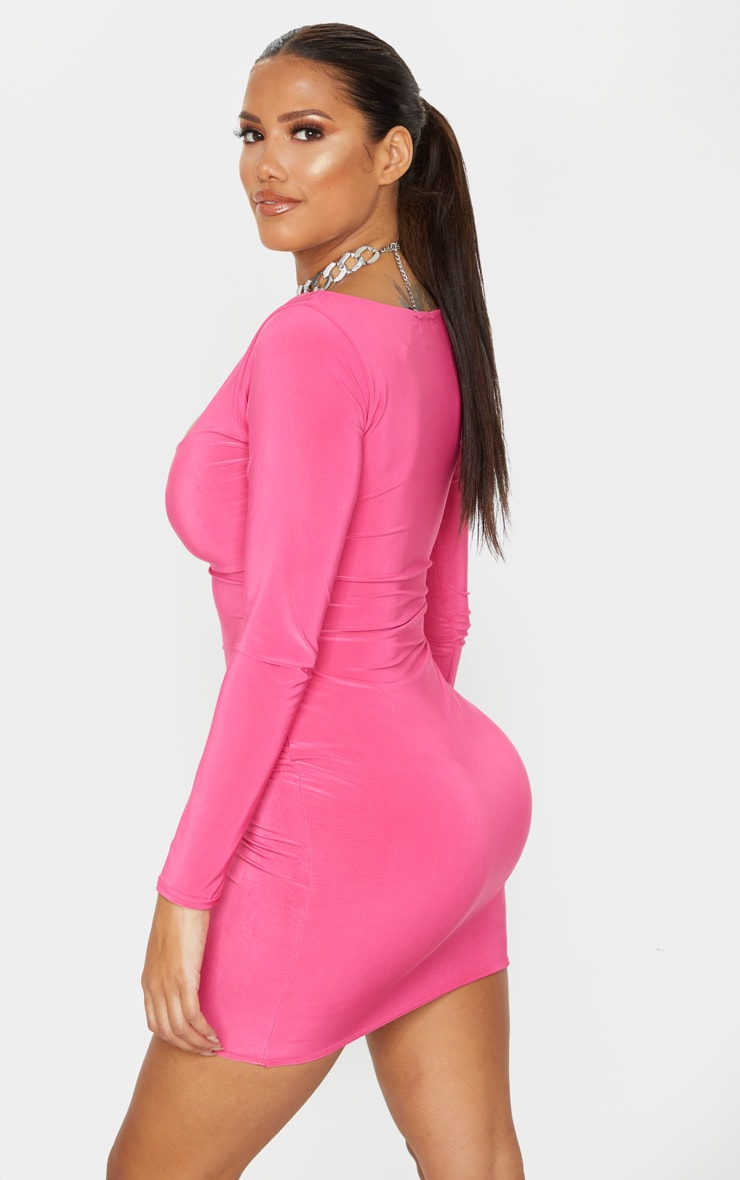Shape Hot Pink Long Sleeve Slinky Ruched Bust Bodycon Dress 2