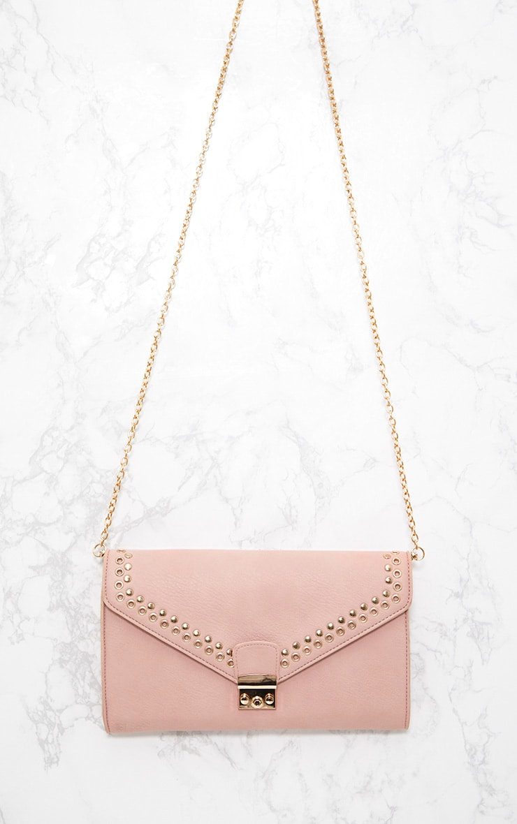Pink Eyelet and Stud Lockable Clutch 4