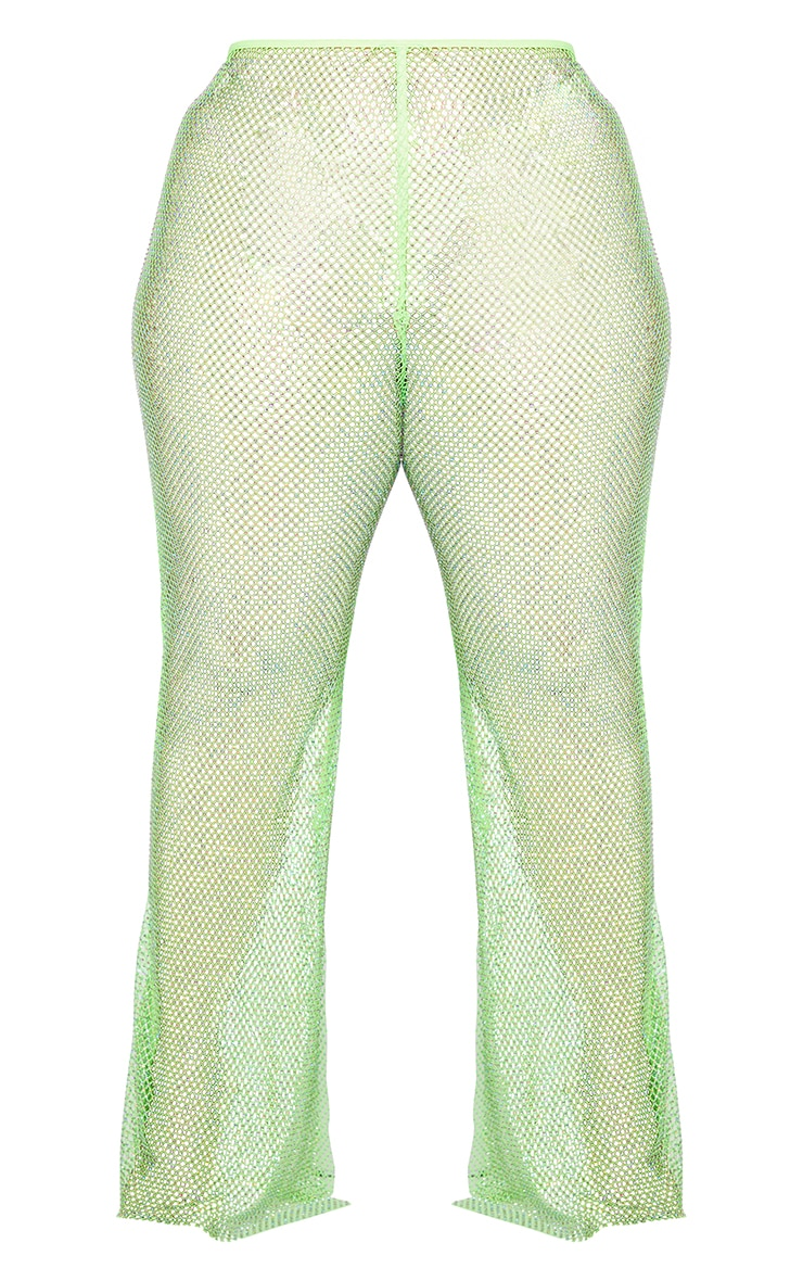 PLT Plus - Pantalon en résille vert citron strassé à ourlet fendu 5