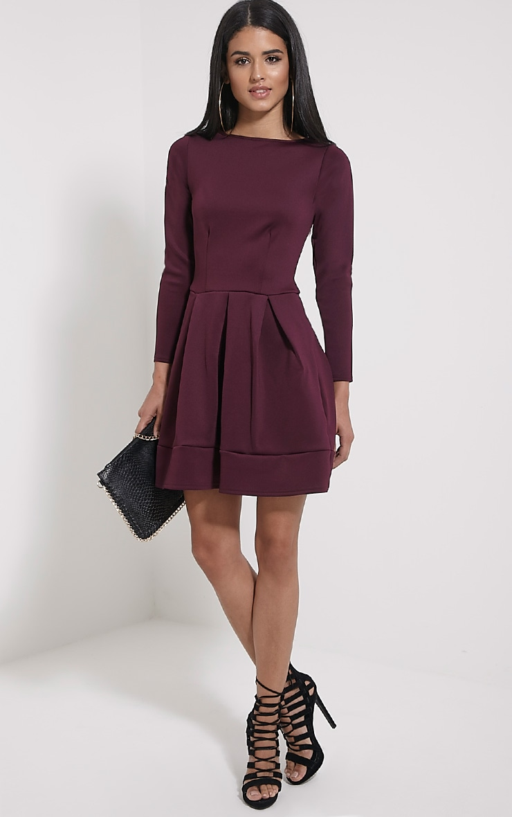Grace Plum Box Pleat Long Sleeve Skater Dress 3