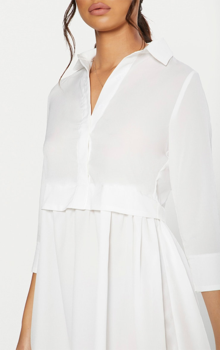 White Layer Shirt Dress 5