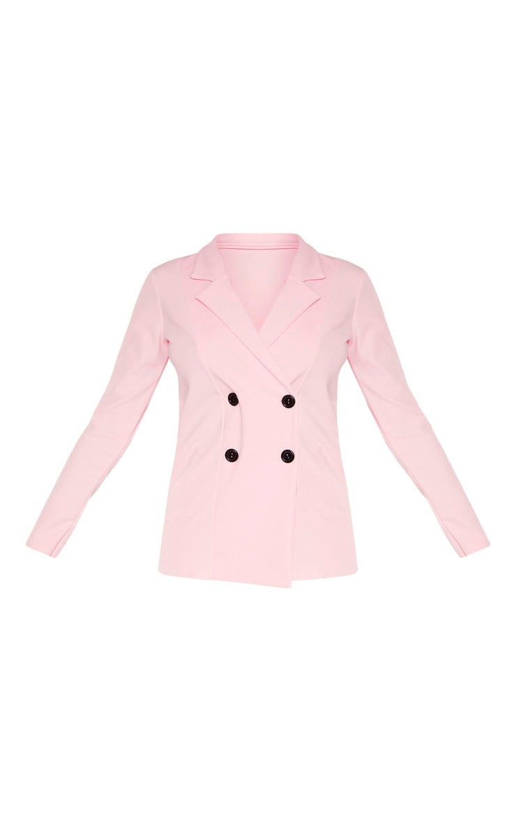 Tall Baby Pink Double Breasted Button Suit Jacket 3