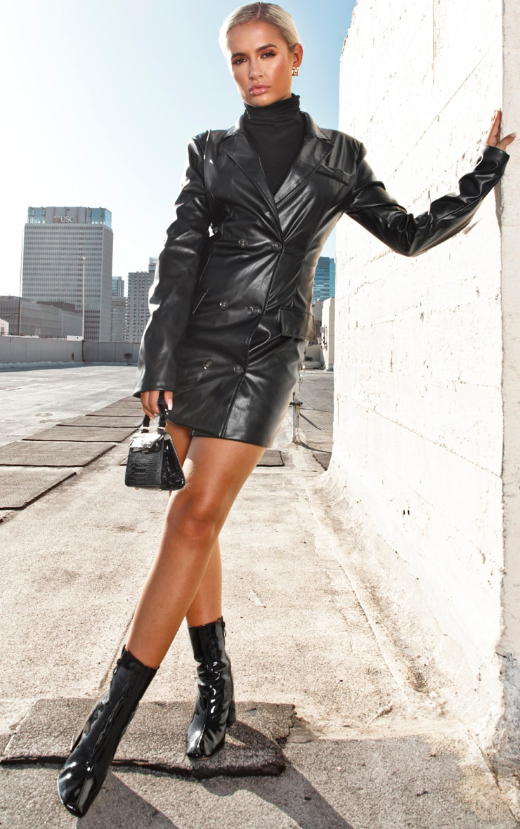 Black Faux Leather Blazer Dress 1