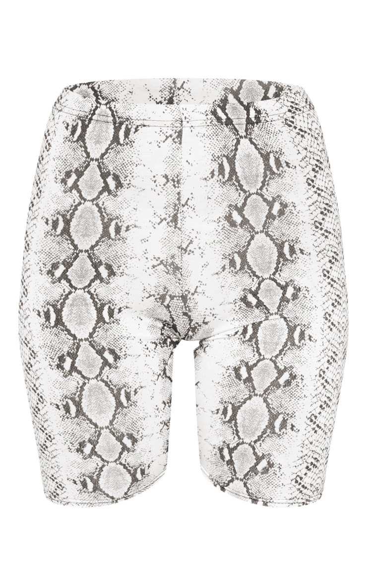 White Jersey Snake Print Cycle Short 3