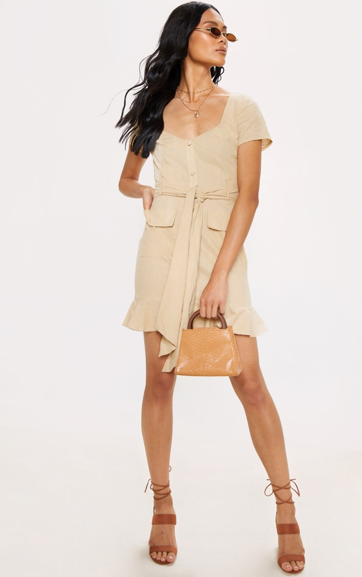 Stone Button Through Frill Shift Dress 4