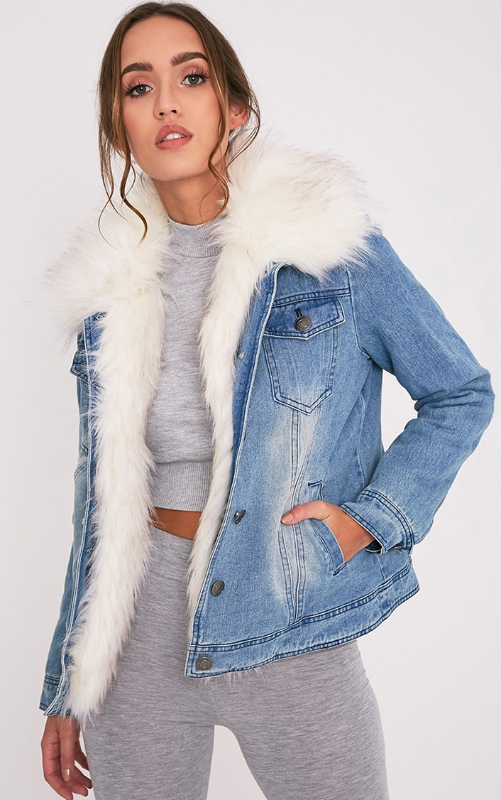 Yalena Denim Faux Fur Lined Jacket 1