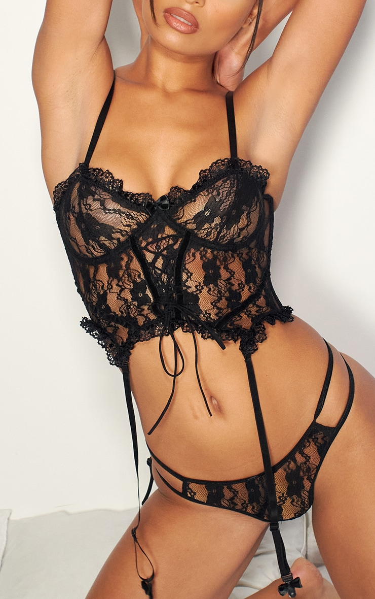 Black Frill Edge Lace Up Corset And Thong Lingerie Set 4