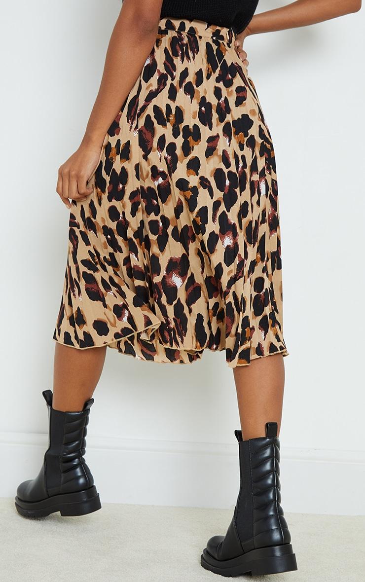 Tan Leopard Print Satin Pleated Midi Skirt 3