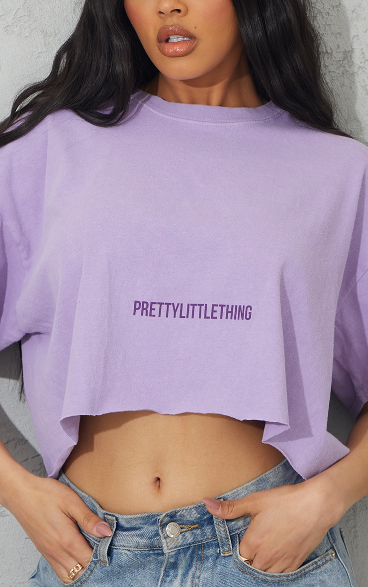 PRETTYLITTLETHING Lilac Small Text Print Washed Crop T Shirt 4