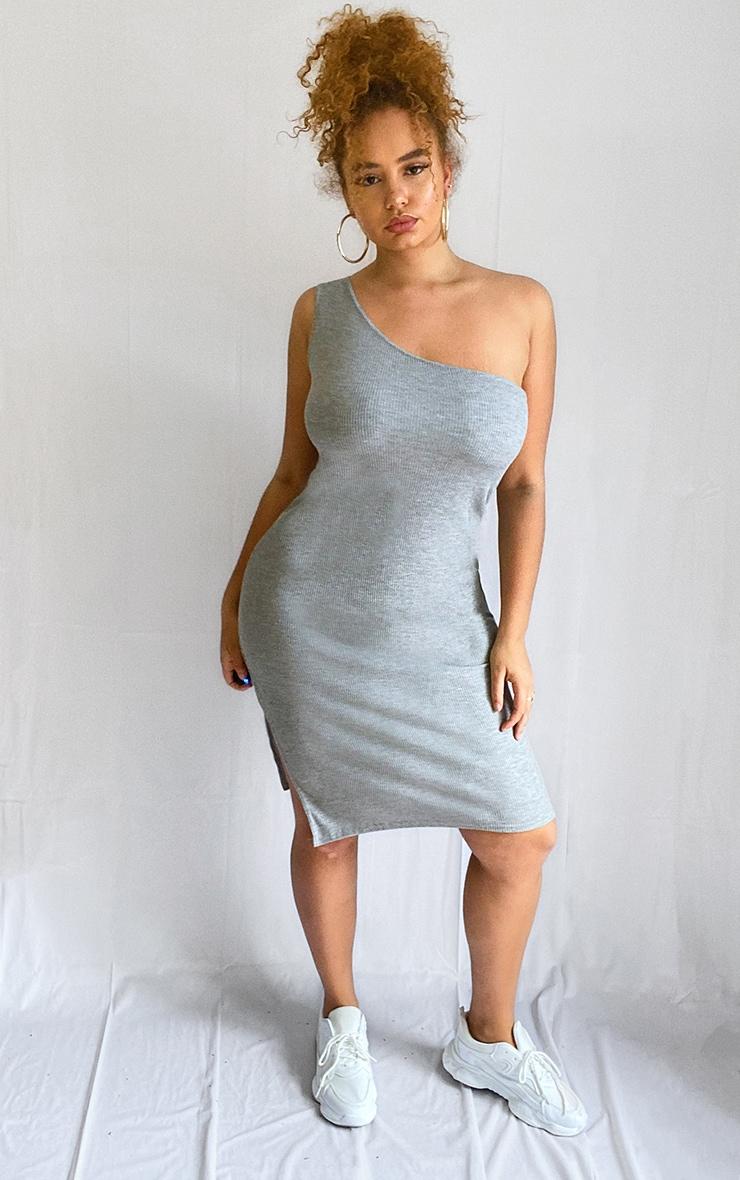 Plus Grey Ribbed One Shoulder Midi Dress