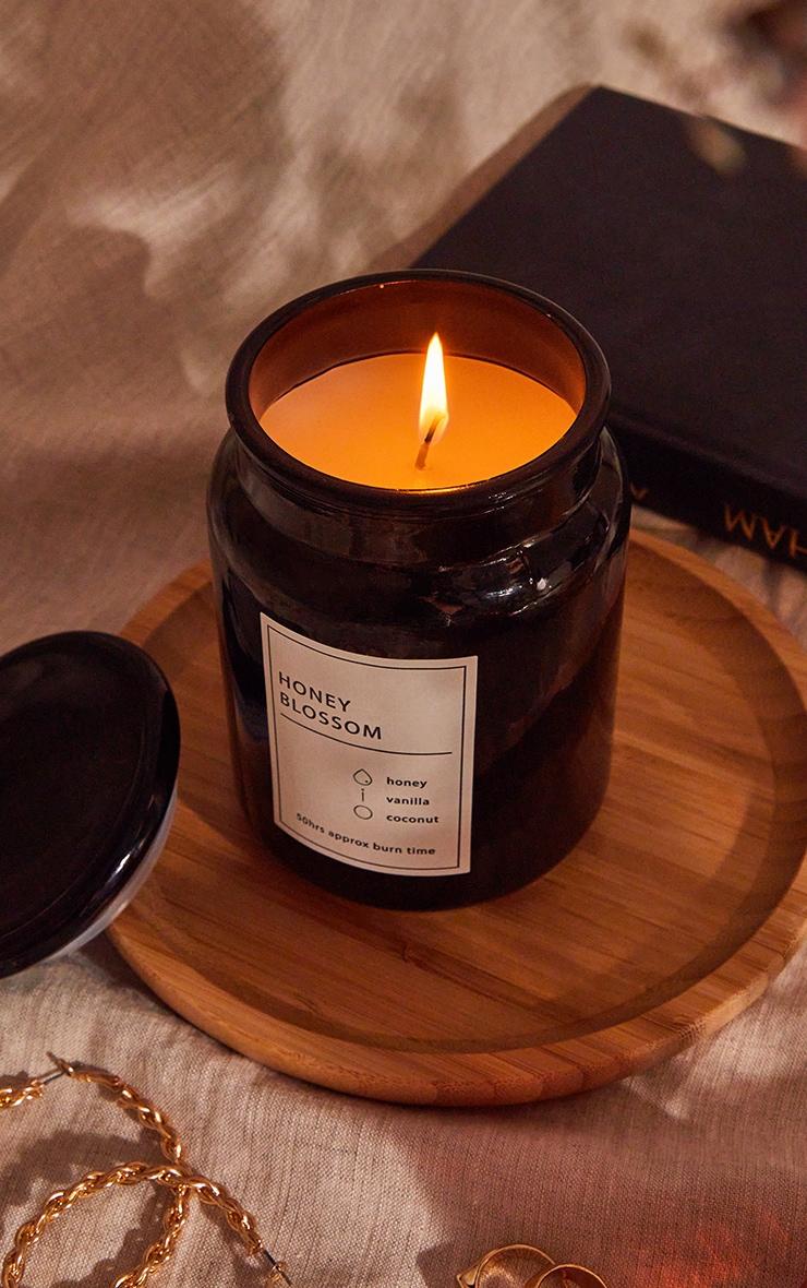 Black Honey Blossom Scented Glass Jar Candle 4